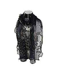 ABC® Women Peacock Flower Embroidered Lace Scarf Long Soft Wrap Shawl