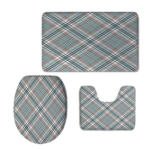 Increase,Checkered,Traditional Pattern Crosswise Dense Lines Plaid Inspired,Grey Light Blue Light Pink,3 Piece Extended Bath mat (Somerset 3 Light Bath)
