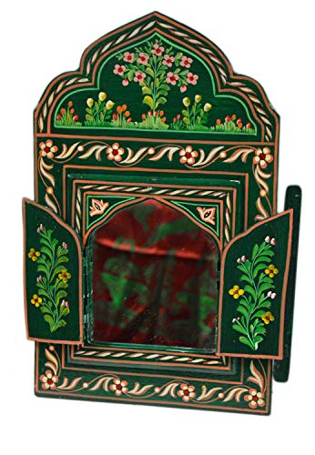 Moroccan Wall Mirror with Doors Hand Painted Arabesque Handmade Decor Small -