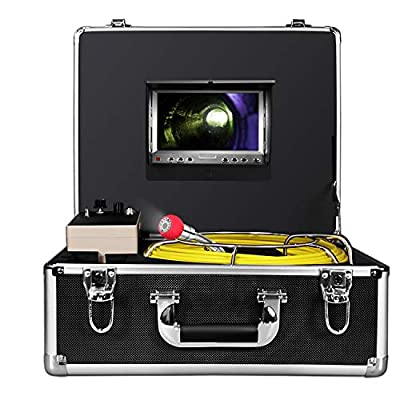 Anysun Sewer Pipe Inspection Camera,Drain Industrial Endoscope Waterproof IP68 Snake Cam Video System 1000TVL Sony CCD Camera with 20m-65ft Cable