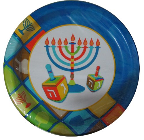 Chanukah Paper Plates, Disposable Plates, Decorated with Han