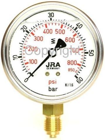 inferior G1//4 JRA-Longlife Man/ómetro de glicerina 0-25 bar Conexi/ón di/ámetro 63