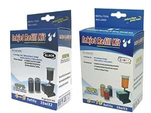 Cartridge refill kit for HP 364/564/364XL/564XL BLACK(Pigment) & Cyan,Magenta,Yellow COLOR ink cartridges