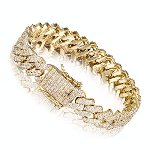 Diamond Gold Bracelets Chains - PY Bling 14K Gold Plated 12mm Hip Hop Full Iced Out Miami Cuban Link Chain Choker CZ Lab Diamond Necklace/Bracelet for Men (8.5)