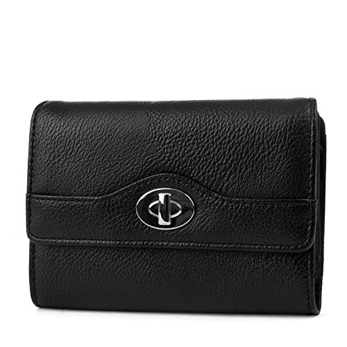 Mundi Small Womens RFID Blocking Wallet Trifold Safe Blocking Protection Change Purse (Black Night)