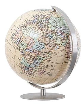 Columbus ROYAL: Miniglobus, politisch, unbeleuchtet, 12 cm Durchmesser, handkaschiert, Fuß und Meridian edelstahl
