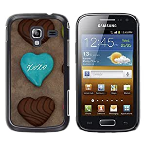 Qstar Arte & diseño plástico duro Fundas Cover Cubre Hard Case Cover para Samsung Galaxy Ace 2 I8160 / Ace2 II XS7560M ( Cookie Chocolatae Sugar Sweets Cafe)