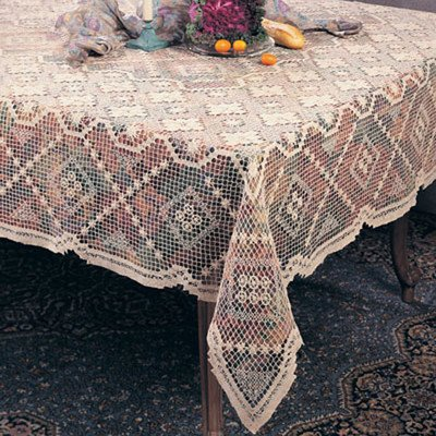 Saro LifeStyle 0317.W7290B  Handmade Tuscany Lace Tablecloth, White, 72×90
