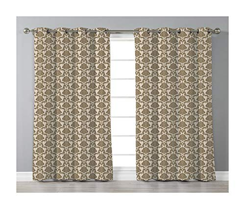 Goods247 Blackout Curtains,Grommets Panels Printed Curtains for Living Room (Set of 2 Panels,55 by 84 Inch Length),Damask -