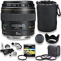 Canon EF 85mm f/1.8 USM Medium Telephoto Autofocus Lens + Lens Pouch + 58mm 3 Piece Filter Set (UV, CPL, FLD) and Accessory Bundle