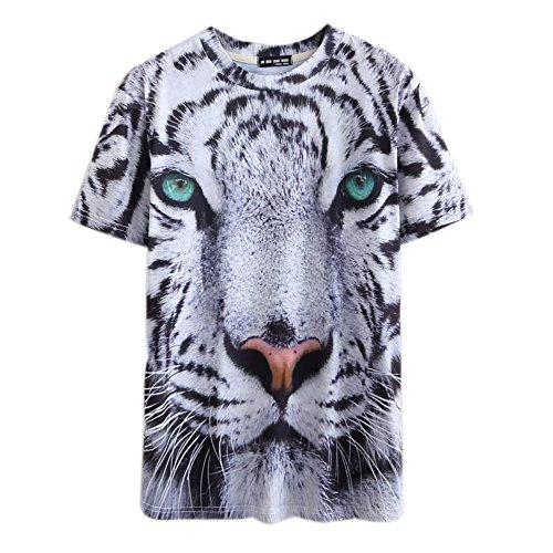Toshoo 3D Print Pattern Big White Tiger's Face Men's T-Shirt M