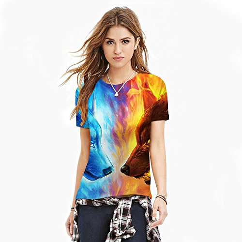 Wskshop Women's Abstract Hipster Tye Dye colorful Casual Animal Lion Printed T-Shirt Short Sleeves Round Neck Tee Tops (S/M, Ice&Fire Wolf)