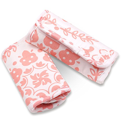 (Coral Pink Medallions Car Seat and Stroller Strap Covers by The Peanut Shell)