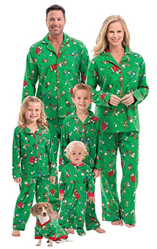 Snoopy Family Tree (PajamaGram Family Christmas Pajamas Soft - Charlie Brown, Green, Kids,)
