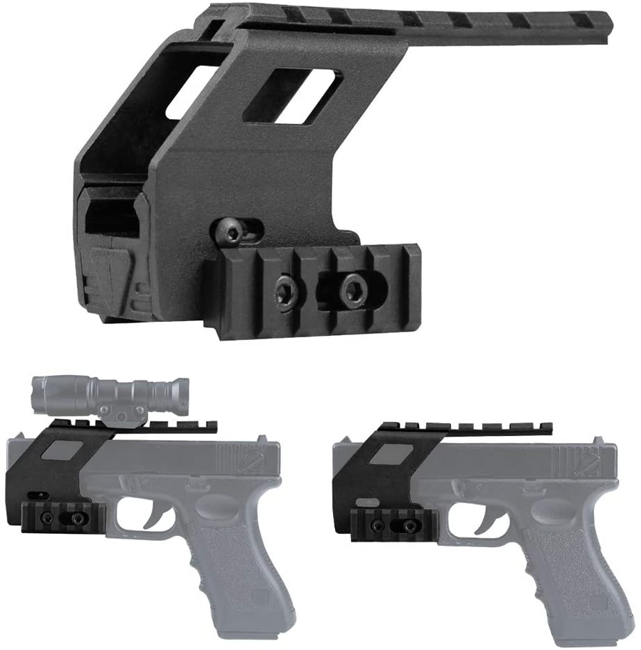 Gexgune Tactical Pistol Glock Rail Base System para Glock 17 18 19 Airsoft Gun Glock Accesorios Rail Mount Hunting Scope (2 Colores Opcionales)