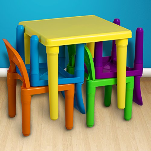 Children And Kids Table And Chairs Set Includes 4 Plastic Chairs And 1 Art Craft Study