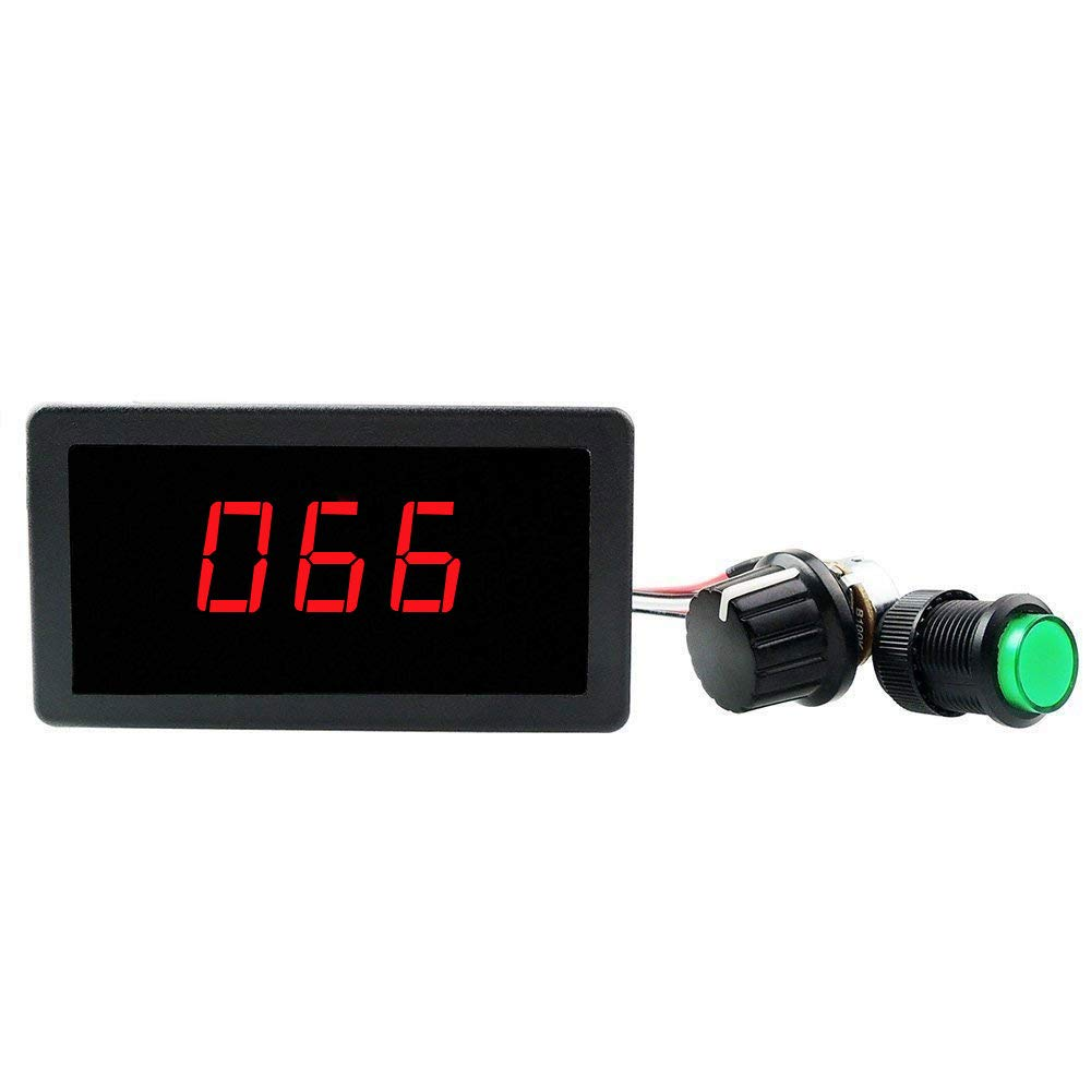 ELENKER 6V 12V 24V Digital Display LED DC Motor Speed Controller PWM Stepless Speed Control Switch HHO Driver - Black CCM5Dh by ELENKER