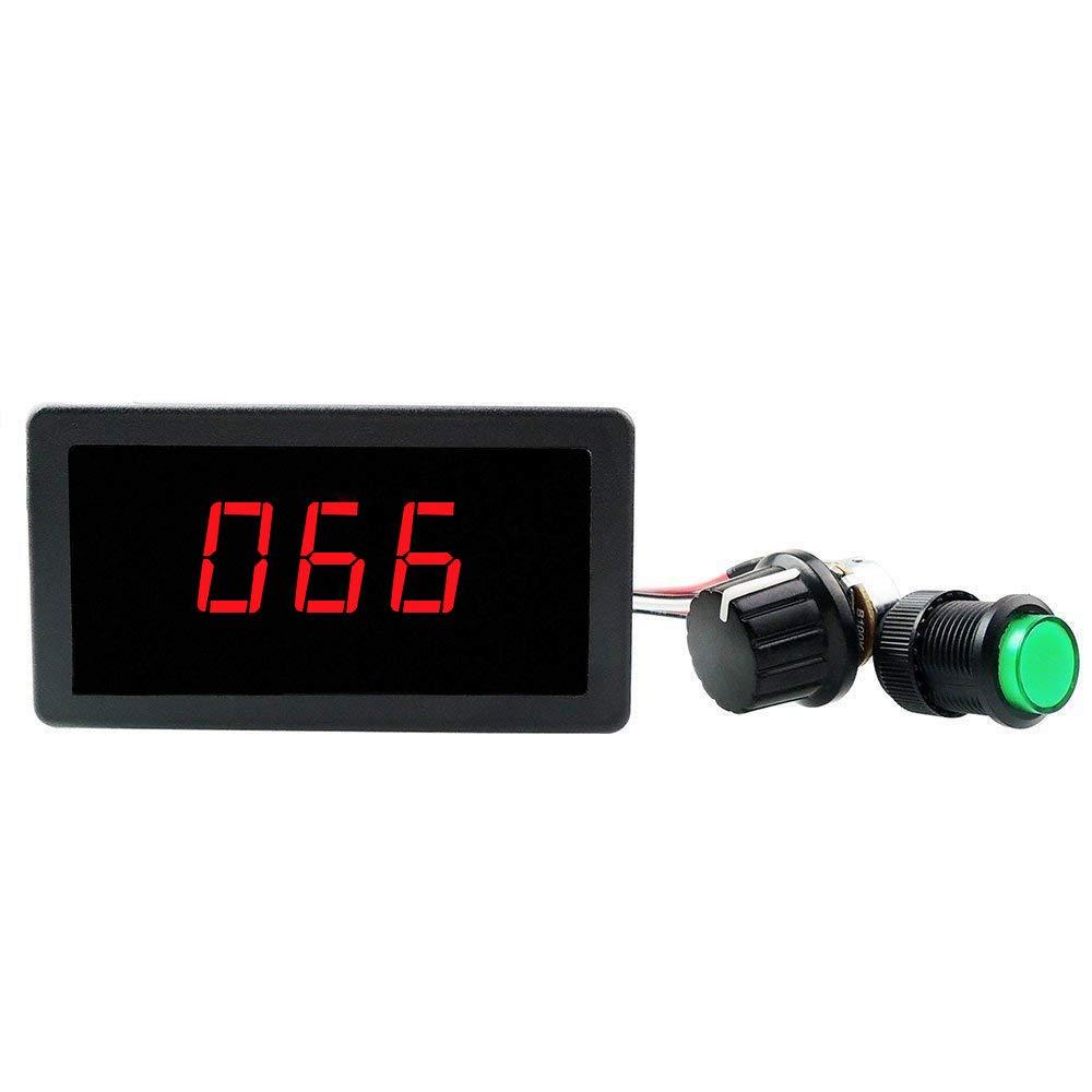 ELENKER 6V 12V 24V Digital Display LED DC Motor Speed Controller PWM Stepless Speed Control Switch HHO Driver - Black CCM5Dh