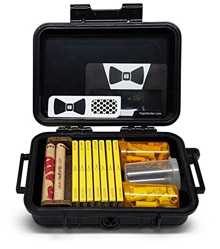 Papers Bistro Ungummed (7 Packs) Airtight Travel Case, Pre Rolled Tips, 79mm Roller, Flip Top Storage Containers Hippie Butler Grinder Card and Magnifying Scoop Card ()