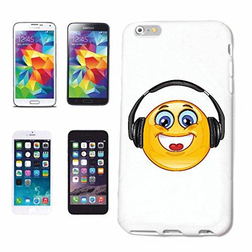 """cas de téléphone iPhone 6S """"COOLER SMILEY AVEC CASQUE """"SMILEYS SMILIES ANDROID IPHONE EMOTICONS IOS grin VISAGE EMOTICON APP"""" Hard Case Cover Téléphone Covers Smart Cover pour Apple iPhone en blanc"""