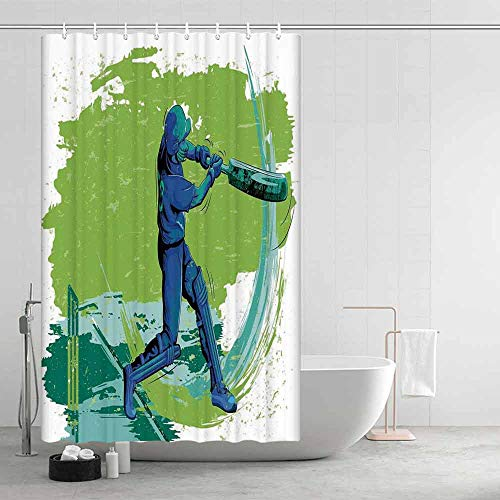 (TecBillion Sports Printing Eco Friendly Shower Curtain,Cricket Player Pitching Win Game Champion Team Paintbrush Effect for Girls Boys,43.31