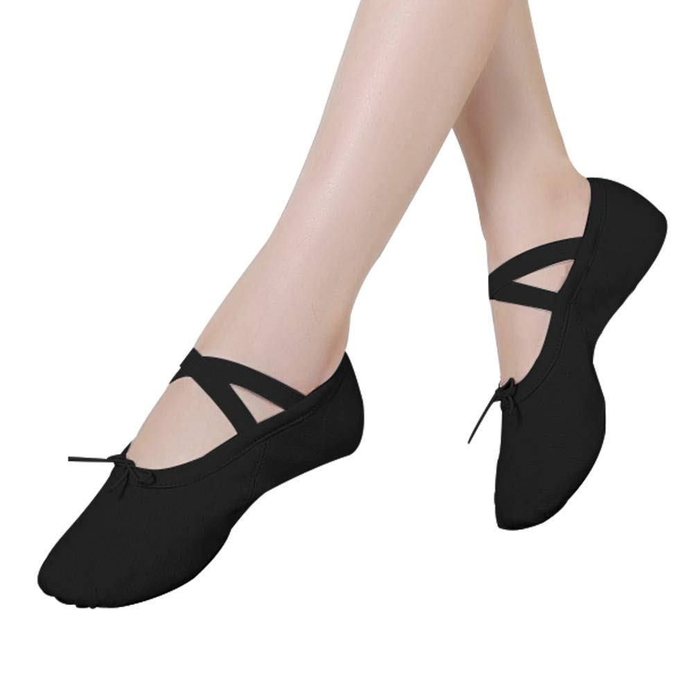 Ballet Slippers Shoes Split Sole Ballet Flats Canvas Dance Gymnastics Yoga Shoes Flats for Womens Black 7