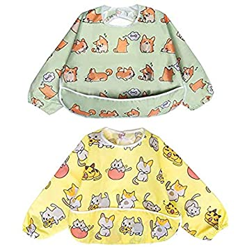 Penguin Bear - Pack of 2 by Little Dimsum 6-24 Months Long Sleeved Bib Waterproof Bibs for Babies and Toddlers with Pocket