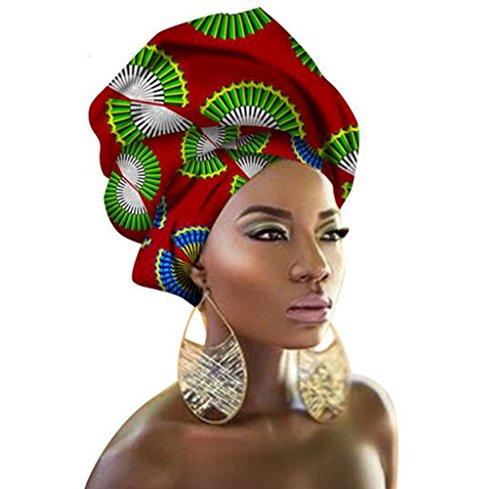 African Traditional Wax Print Head wrap Headwrap Scarf Tie, Multi-Color Urban Ladies Hair Accessory Headband Head Scarf (TJ33)