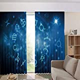 iPrint Children's Room Curtains Thermal Insulated BlackoutCurtain Window Curtains,Wheel with Signs Aquarius Lion Taurus Libra 108Wx95L Inch