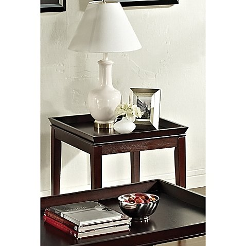 Clemson End Table in Merlot Cherry | Constructed of Hardwood Solids and Crisscross Birch Veneer by Steve Silver