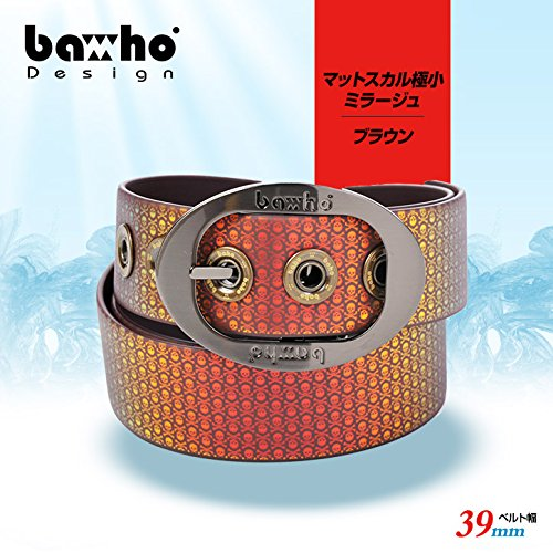 【baho マルチケースプレゼント付セット】10 バホ baho グリッターベルト(ゴルフ ベルト)マットスカル極小 ミラージュブラウン