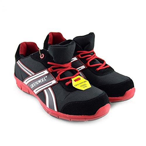Kick Schuhe Herren Groundwork Steel Toe Safety Trainer Schwarz-Rot