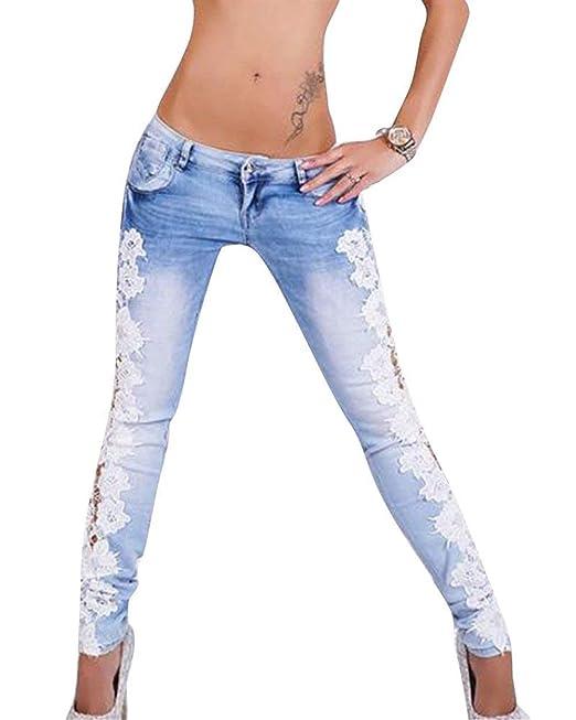 Pantalones De Las Moda De Encaje De Pantalones Cintura Jeans ...