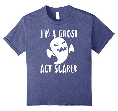 Double Act Costumes For Girls (Kids I'm A Ghost Act Scared Funny Halloween Shirt 8 Heather Blue)