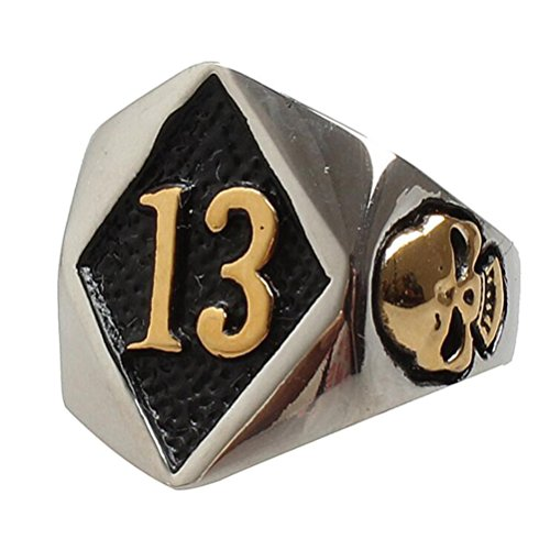 PAURO Men's Stainless Steel No. 13 Motorcycle Biker Ring Evil Skull Gold Size 14