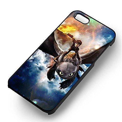 Unique Hiccup & Toothless pour Coque Iphone 5 or Coque Iphone 5S or Coque Iphone 5SE Case (Noir Boîtier en plastique dur) S4N5NK
