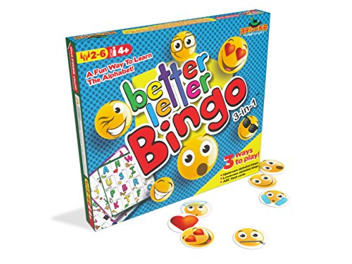 Better Letter Bingo 3-in-1 Preschool Game with Fun Emoji Bingo Chips - Play Both Upper and Lowercase Alphabet Bingo or Use as ABC Flash Cards - 2 to 6 Players