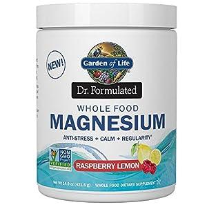 Garden of Life Dr. Formulated Whole Food Magnesium 421.5g Powder, Raspberry Lemon, Chelated Non-GMO Vegan Kosher Gluten & Sugar Free Supplement with Probiotics, Best for Anti-Stress Calm & Regularity