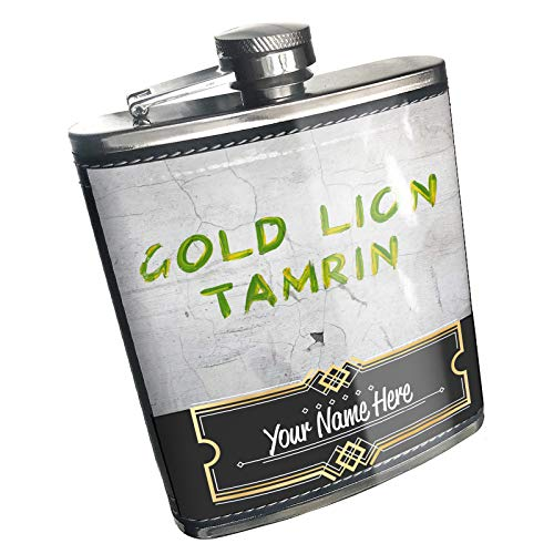 Neonblond Flask Gold Lion Tamrin Brazil Paint Green Yellow Custom Name Stainless Steel