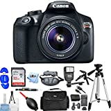 Canon EOS Rebel T6 DSLR Camera with 18-55mm Lens (Black) [RENEWED] Pro Bundle with Extra Battery and Charger, 32GB SD, Flash, Tripods + Much More