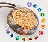 1.6 inch Flower Of Life Orgone Pendant Generator Energy Accumulator EMF protection (BONUS Bracelet 7 chakras) | Reiki Charged Orgonite | EMF Radiation Protection Necklace