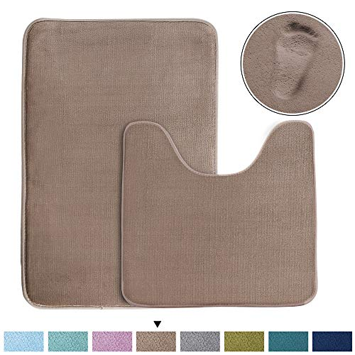 Super Soft Memory Foam Toilet Rug Set and Rectangle Bath mat Set, Quickly Dry Non-Slip Bathroom Rugs Set, Extra Absorbency (Taupe, Oversize 20