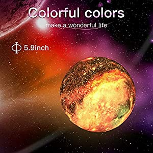 BRIGHTWORLD Moon Lamp Kids Night Light Galaxy Lamp 5.9 inch 16 Colors LED 3D Star Moon Light with Wood Stand, Remote & Touch Control USB Rechargeable Gift for Baby Girls Boys Christmas