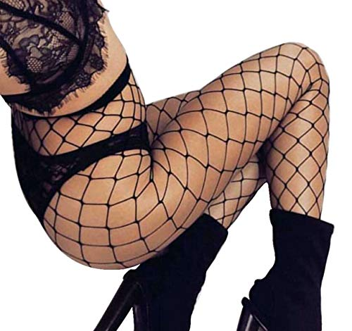 4461f5e616603 DancMolly High Waist Fishnet Stockings Mesh Tights Hollow Out Pantyhose  Women's Hosiery (One Size,