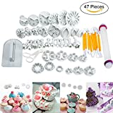 47 pcs Fondant Cutters Tools Sedhoom Catalina Fondant Molds Cake Decoration Tool Set with Rolling Pin Smoother Embosser Moulds