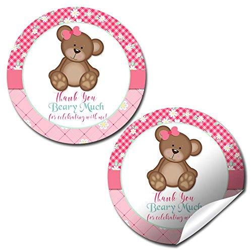 (Teddy Bear Girl Birthday Party Thank You Sticker Labels, 40 2