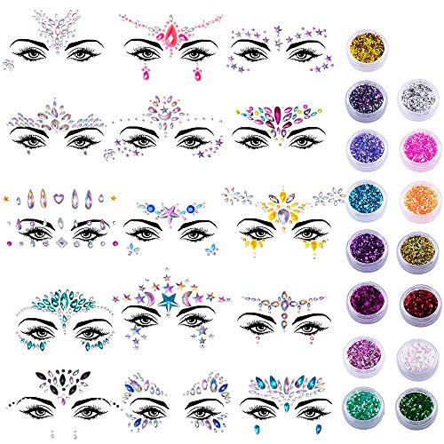 M-Aimee 15 Sets Face Gems Glitter Face Rhinestone Stickers Face Crystal Tattoo Set Forehead Decorations with 15 Boxes Body Chunky Face Glitter for Women Mermaid Theme Party Supplies