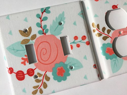 Coral And Metallic Gold Floral Light Switch Plate Cover - Various Sizes Light Switchplates Offered