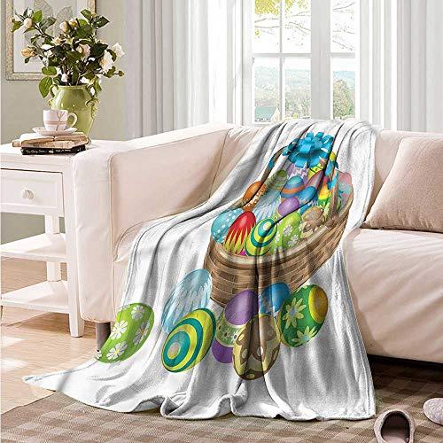 Oncegod Nap Blanket Easter Basket of Colorful Eggs Super Soft Cozy 84