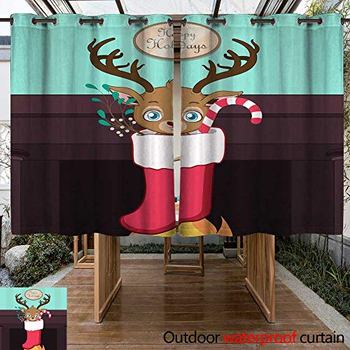(RenteriaDecor Outdoor Curtains for Patio Waterproof Cute Reindeer in a Christmas Stocking Above a Fireplace W96 x L72)